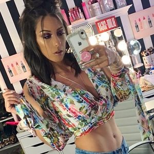 Sheer Floral Crop Top